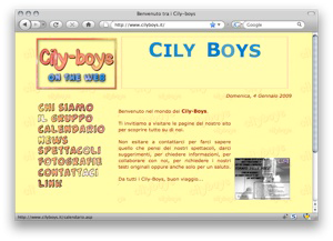 Screenshot sito www.cilyboys.it